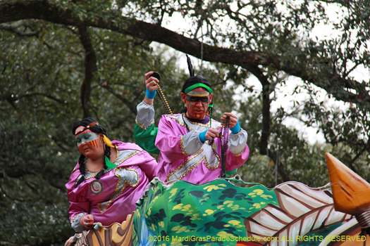 Riders on magnificent St. Charles Ave, New Orleans Mardi Gras - photo by Jules Richard