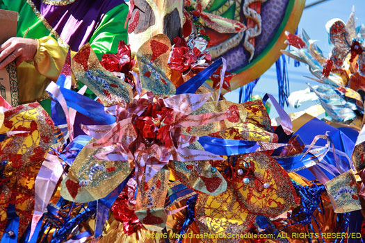 Unique foil flower created by artist Ricardo Pustanio, Krewe of Mid City 2016 - photographer Jules Richard