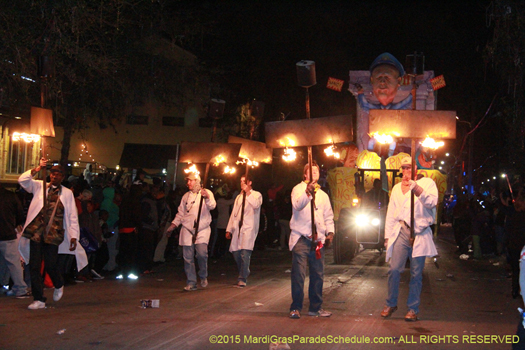 Flambeaux carriers in the Knights of Chaos procession - photo by Jules Richard