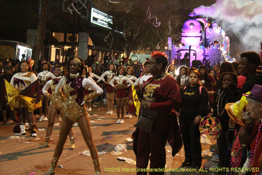Band marching in the Krewe of Bacchus parade in New Orleans, LA - photo by Jules Richard