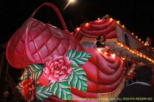 Unique purses rival the Muses shoe in the Mystic Krewe of Nyx Mardi Gras parade in New Orleans - photo by Jules Richard