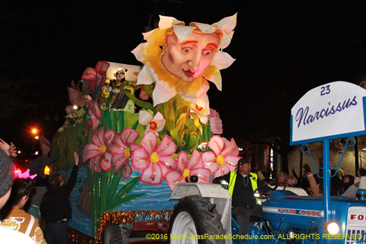 Float title NARCISSUS, theme Enchantments & Transformations - photo by Jules Richard