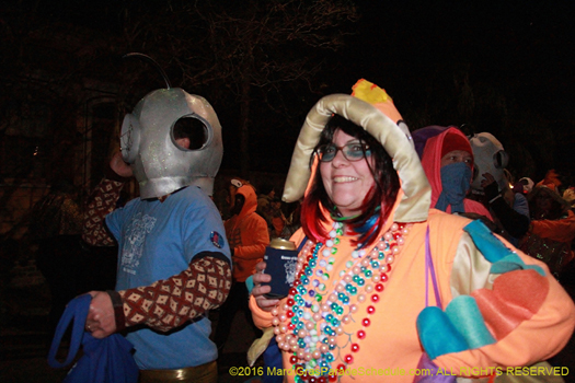 Krewe du Vieux marches throught Marigny, french quarter and warehouse district