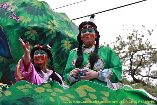 Krewe of Choctaw, New Orleans Mardi Gras, 2016 - photo by Jules Richard