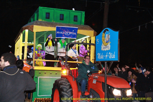 Make a Wish Foundation in Krewe of Morpheus Mardi Gras parade- Jules Richard