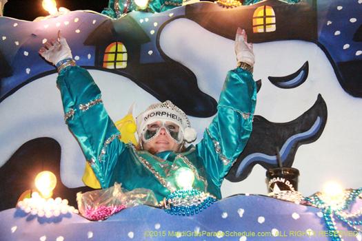 Having fun in the Krewe of Morpheus Mardi Gras parade - photo by Jules Richard