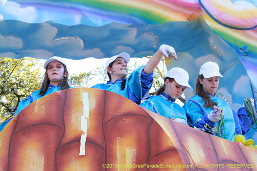 Float riders in the Krewe of Pontchartrain, Mardi Gras New Orleans - photo by Jules Richard