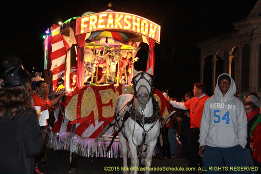 Mule drawn float in the Krewe du Vieux procession - photo by Jules Richard